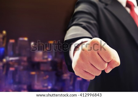business man hand punch