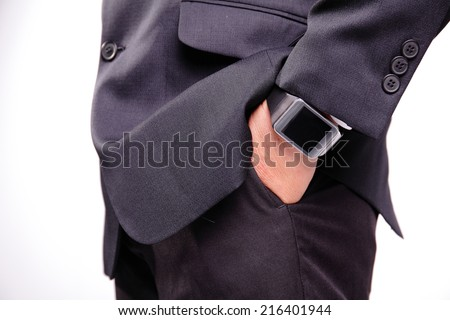 business man hand serving smart watch, empty screen copy space is great for your design - stock photo