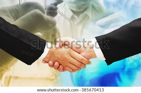 business man hand shake deal chemistry corporate research concept background