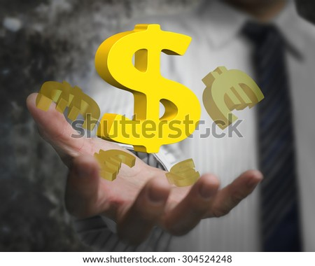 Business man hand showing golden dollar sign with euro symbols