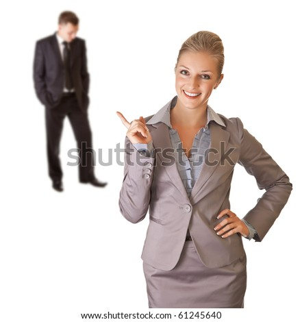 Business man hand thumbs up on white isolated background