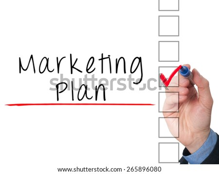 Business man hand  writing marketing plan concept and ticking check list. Isolated on white background. Stock Image - stock photo