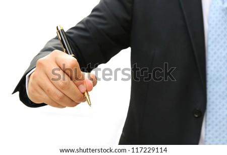 Business man hand writing something on white background - stock photo