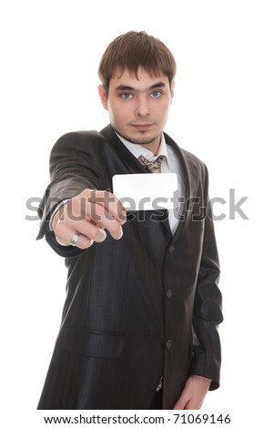 Business man handing a blank business card isolated on white