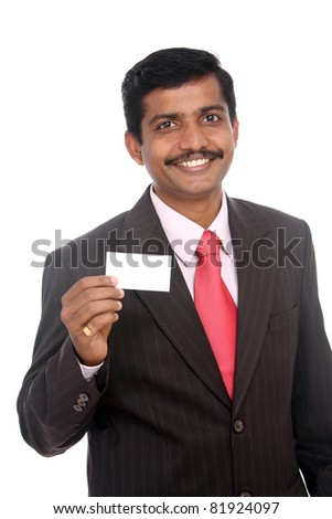 Business man handing a blank business card Isolated on white.