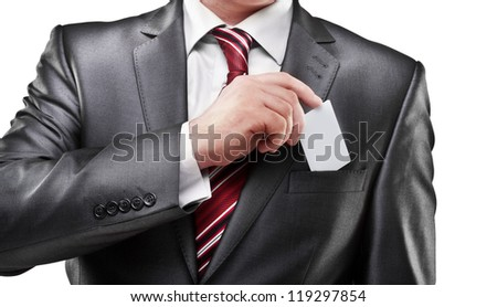 Business man handing a blank business card isolated on white background High resolution - stock photo