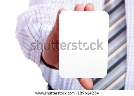 Business man handing a blank card isolated over white background - stock photo