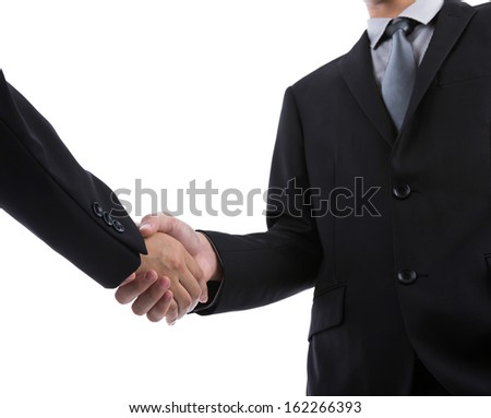 Business man handshake over white background