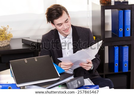 Business man have so many paperwork in the office