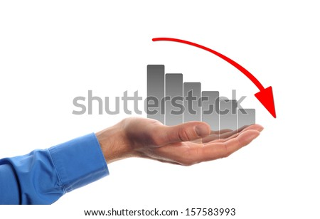 business man hold a chart with decreasing beam