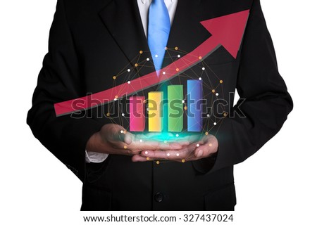 Business man hold a growing graph isolate on white background - stock photo