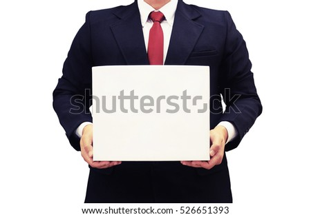 business man hold blank new year gift box