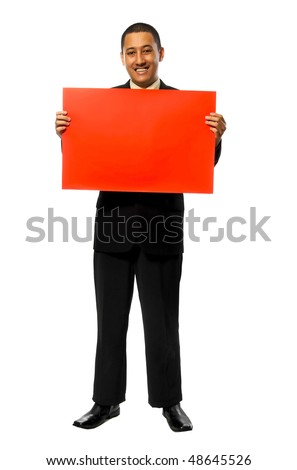 Business man hold blank red sign isolated on white background - stock photo