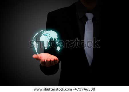 Business man hold earth icon.