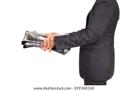 business man hold many file,Accounting and business concept,isolate image - stock photo