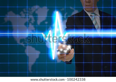 Business Man hold smart phone with digital heart pulse - stock photo