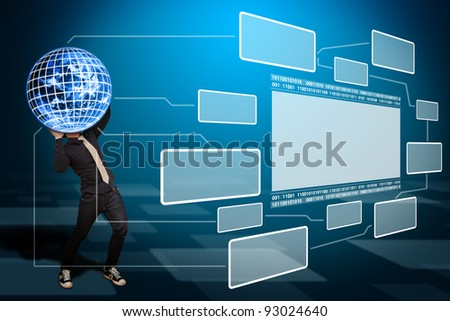 Business man hold the digital world and windows background - stock photo