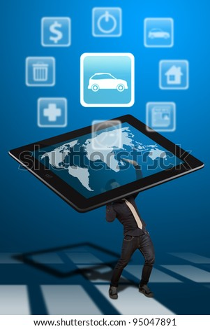 Business man hold the tablet pc and car icon out - stock photo