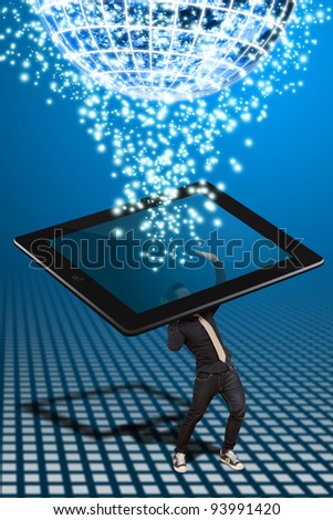 Business man hold the tablet pc and connect to globe - stock photo
