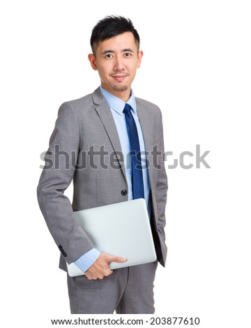 Business man hold with laptop computer - stock photo