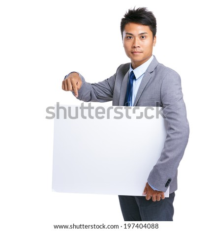 Business man hold with white board - stock photo