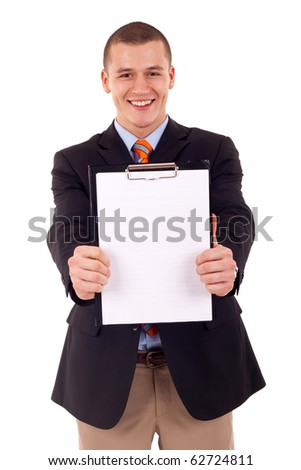business man holding a blank clipboard (isolated on white)