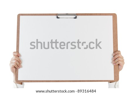Business man holding a board isolate on white background. - stock photo