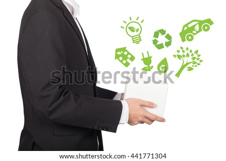 business man holding a box of eco energy icons, concept of clean and safe environment - stock photo