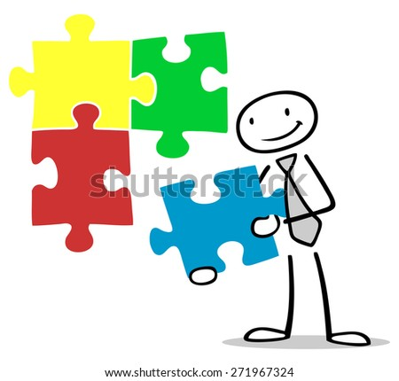Business man holding a colorful jigsaw puzzle piece - stock photo