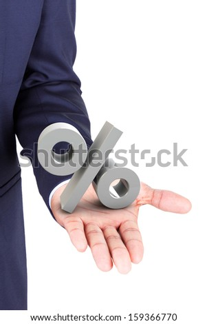 Business man holding a 3d percent symbol in hand palm, isolated on white background - stock photo