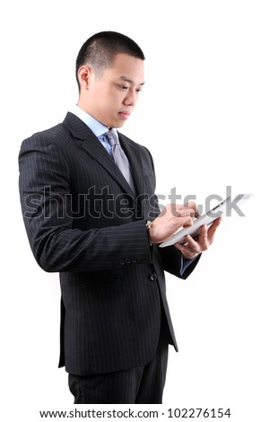 business man holding a digital touch screen tablet computer on white background.