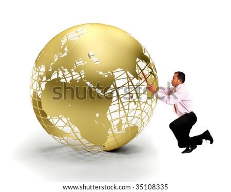 Business man holding a globe isolated over white