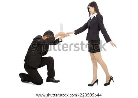 business man holding a laptop for female manager using.Business power concept - stock photo