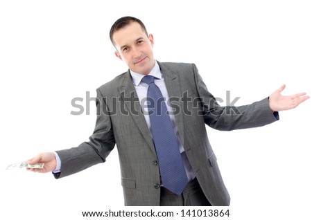 Business man holding a one dollar bill. - stock photo