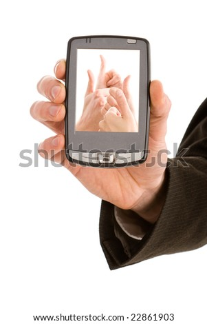 Business man holding a pda with a thumbs up picture isolated on white - stock photo