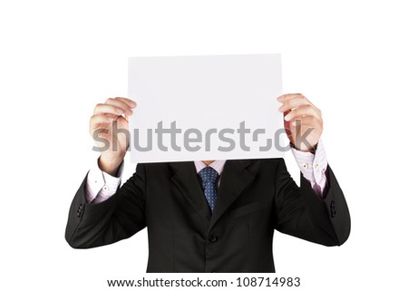 business man holding a white paper isolate on white