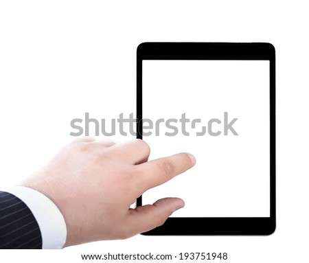 Business man holding and Point on Tablet PC - stock photo