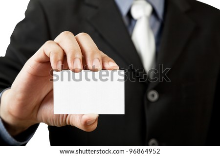 Business man holding blank business card isolated on white background