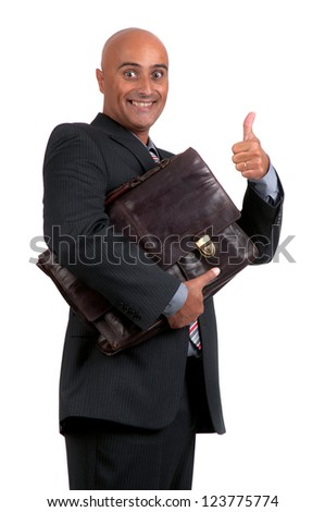 business man holding brief case - stock photo