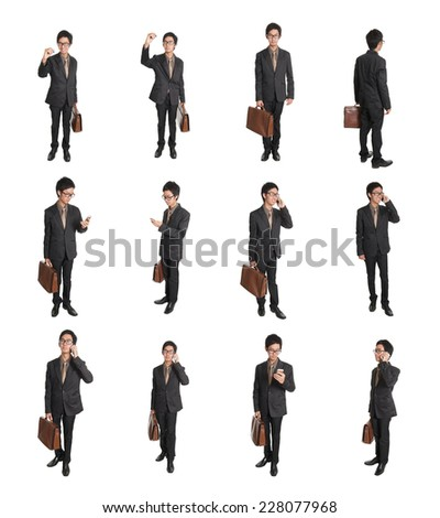 Business man holding briefcase and smart phone isolated on white background - stock photo