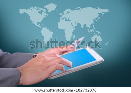 Business man holding credit card and press key for shopping with map