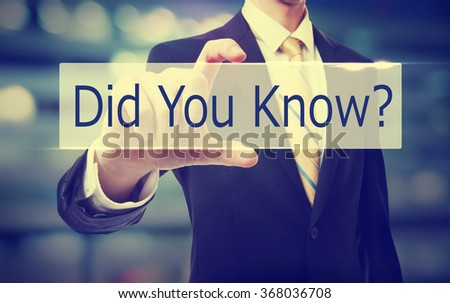 Business man holding Did you know? on blurred abstract background   - stock photo