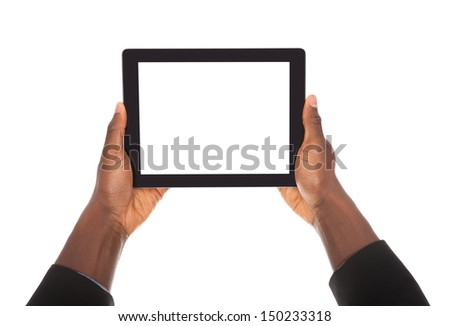 Business Man Holding Digital Tablet On White Background
