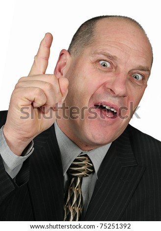 Business man holding finger up to his face - he had idea - stock photo