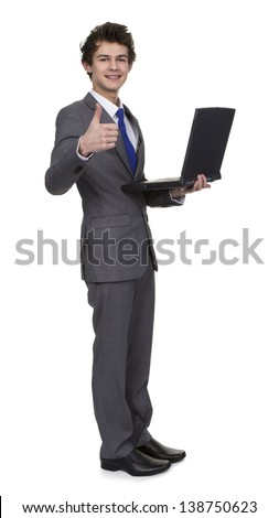 Business Man Holding Laptop Showing Thumb Up Sign Isolated Over White Background