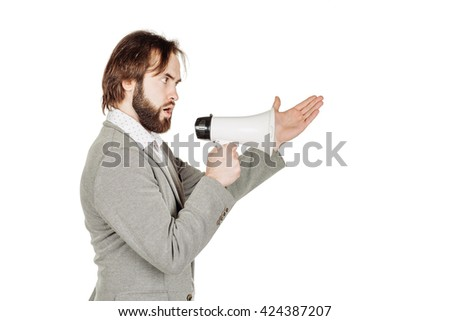 business man holding megaphone. human emotion expression and lifestyle concept. image on a white studio background.