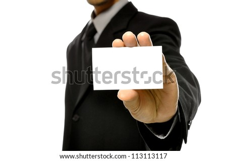 Business man holding name card isolated over white background. You can put your message on the card