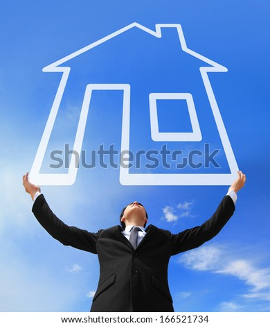Business man holding New house imagination with sky and cloud, asian - stock photo
