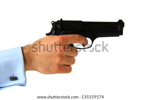 business man holding pistol on isolated white background - stock photo