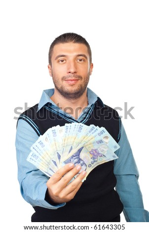 Business man holding Romanian banknotes and smiling isolated on white background - stock photo